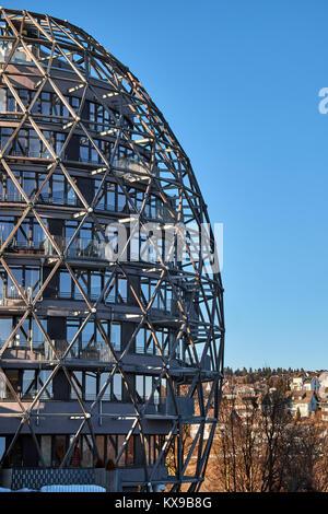 WINTERBERG, GERMANY - FEBRUARY 14, 2017: Modern rounded egg shaped framework building in Winterberg - Stock Photo