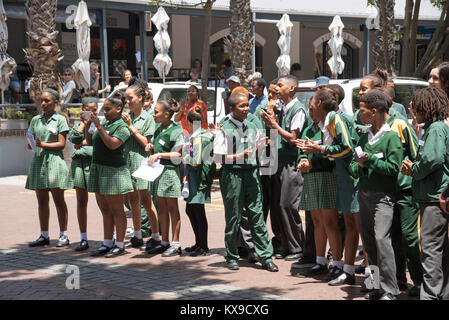 V&A Waterfront Cape Town South Africa. December 2017. School children on the waterfront area during an educational - Stock Photo