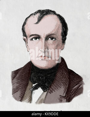 Paul Delaroche (1797-1859). French painter. Romanticism. Engraving, 1883. - Stock Photo