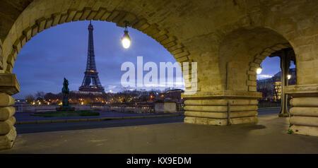 View on the Eiffel tower  from the Bir-Hakeim bridge - Stock Photo