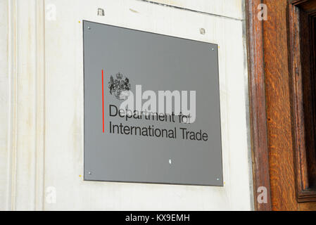 Department for International Trade DIT UK government department in Whitehall, Westminster, London. Sign notice at - Stock Photo