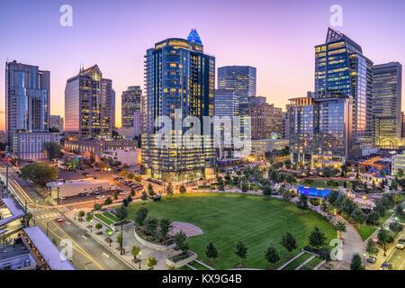 Charlotte, North Carolina, USA uptown skyline and park. - Stock Photo