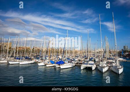 Sailing boats at the Moll de la fusta Port Vell Barcelona Spain. - Stock Photo