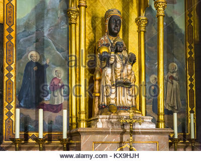 Statue of the Virgin Mary inside the Cathedral of the Holy Cross and Saint Eulalia in Barcelona, Catalonia, Spain. - Stock Photo