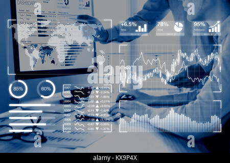 Business analytics dashboard reporting concept with key performance indicators (KPI) and two people analyzing sales or digital marketing data on compu