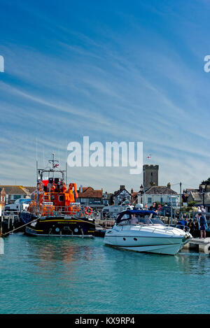 Yarmouth, its harbour and off shore lifeboat, Isle of Wight UK. - Stock Photo