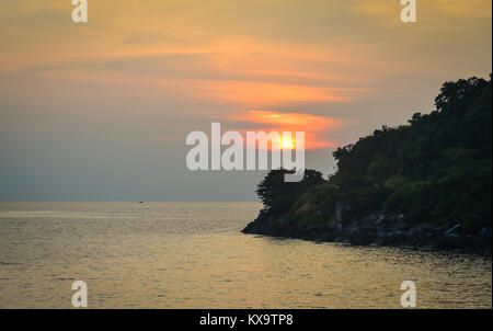 Sunset on the South China Sea in summer day. - Stock Photo