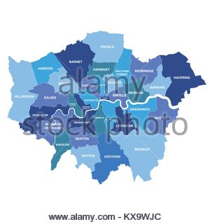 Greater London map showing all boroughs - Stock Photo