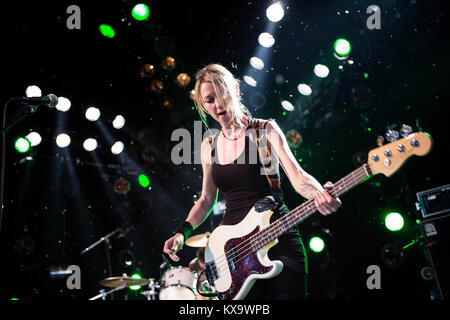 The Cardiff-based alternative rock group Future of the Left performs a live concert at the Pavilion Stage at Roskilde Festival 2014. Here the band's bassist Julia Ruzicka is pictured live on stage. Denmark 03/07 2014.