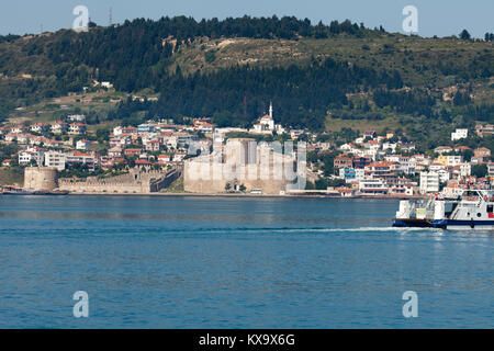 Kilitbahir Castle in Canakkale,Turkey.  The view from Asia on Europe - Stock Photo