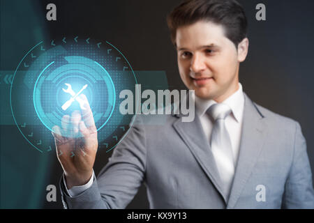 Business Technology. Internet Concept. Technical Support Customer Service. Businessman pressing button on virtual - Stock Photo
