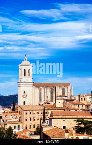 an aerial view of the Old Town of Girona, in Spain, seen from above highlighting the bell tower of the Cathedral, - Stock Photo