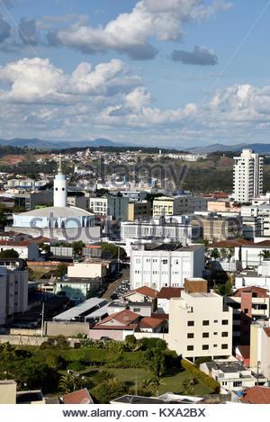 Vista de cima da cidade no destaque a esquerda Igreja de Nossa Senhora de Fátima, Pouso Alegre, Minas Gerais, Brazil, - Stock Photo