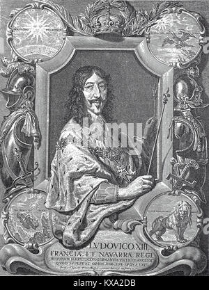 Louis XIII, September 27, 1601 - May 14, 1643, was king of France and Navarre from 1610 to 1643. He was nicknamed - Stock Photo