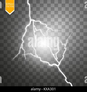 Vector electric lightning bolt. Energy effect. Bright light flare and sparks on transparent background. - Stock Photo