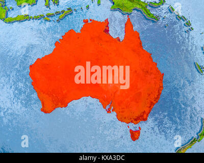 Australia in red on realistic map with embossed countries. 3D illustration. Elements of this image furnished by - Stock Photo