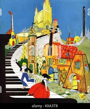 Cartoon Fantasy over a piano - Stock Photo