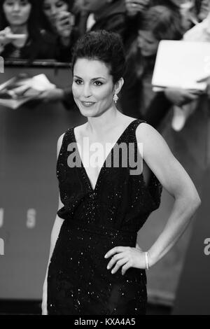 LONDON - MAY 31, 2012: Noomi Rapace ( Image digitally altered to monochrome ) attends the Prometheus - UK film premiere - Stock Photo