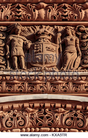 ornamental stonework on Toronto old city hall a National Historic Site in Romanesque Revival by E J Lennox in Ontario - Stock Photo