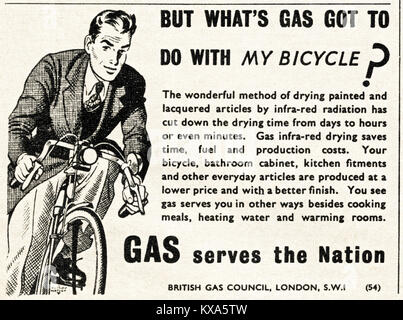 1940s old vintage original advert advertising British Gas Council in magazine circa 1947 when supplies were still - Stock Photo