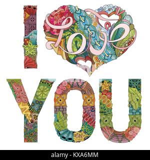 Hand-painted art design. Hand drawn illustration words I LOVE YOU for t-shirt and other decoration - Stock Photo