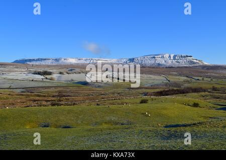 Snow topped Pen-y-ghent - Stock Photo