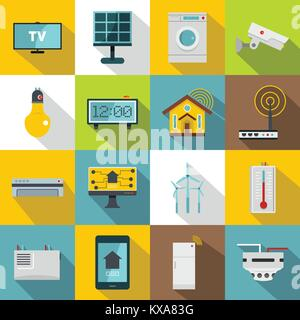 smart house and internet of things flat icons set stock. Black Bedroom Furniture Sets. Home Design Ideas