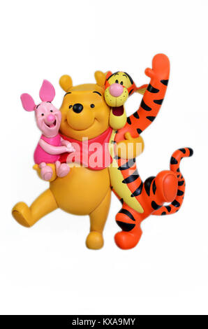 Studio image of Winnie the Pooh & friends with a white isolated background. - Stock Photo