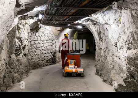 Worker carrying cement on electric pallet truck in of tunnels of Aiguille du Midi, Chamonix Mont-Blanc, Haute Savoie, - Stock Photo