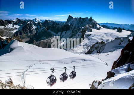 Helbronner cable car with unique panoramic view of Valle Blanche, Chamonix Mont-Blanc, Haute Savoie, France - Stock Photo