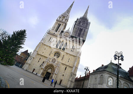 Zagreb, Croatia. The Assumption of Mary Gothic Cathedral. - Stock Photo