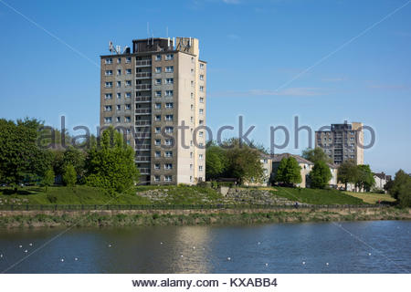 High rise flats in Skerton in Lancaster by the River Lune - Stock Photo
