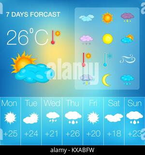 clouds and weather symbols, vector Stock Vector Art