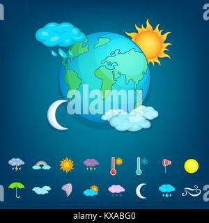 Weather symbols concept planet, cartoon style - Stock Photo
