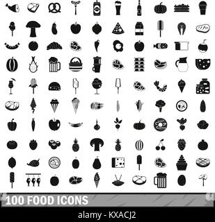 100 food icons set in simple style - Stock Photo
