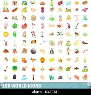 100 world icons set, cartoon style - Stock Photo