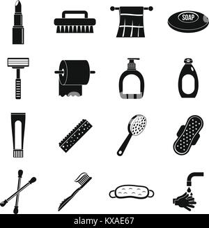 Hygiene tools icons set, simple style - Stock Photo