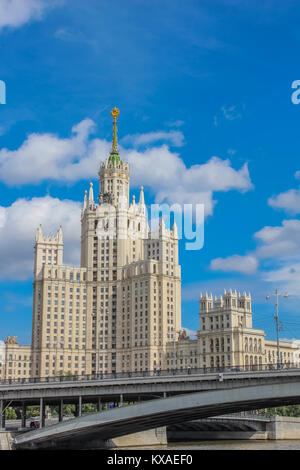 View from the river on one of the Stalin skyscrapers - residential building on the Kotelnicheskaya embankment - Stock Photo