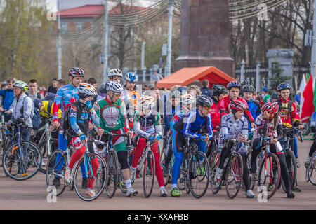 Gomel, Belarus - April 10, 2016: Velosports on Lenin Square at the opening of bicycling season 2016 - Stock Photo