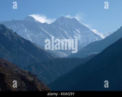View on Mount Everest, the highest peak in world, as seen from Namche Bazar, Khumbu, Nepal - Stock Photo