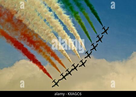 Aerobatic squadron Frecce Tricolori,Airpower airshow in Zeltweg,Styria,Austria - Stock Photo