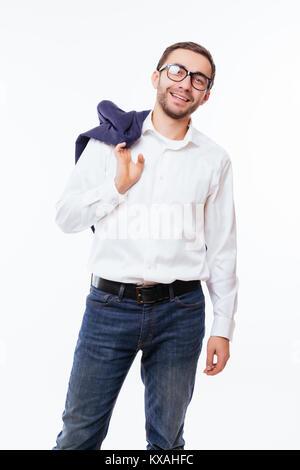 Portrait of confident bearded man holding his black jacket isolated over white background - Stock Photo