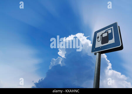 Information sign for electric car charging stations, public charger on road, Germany - Stock Photo