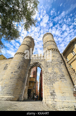 One of the ancient gates of the city, Porta Soprana or Saint Andrew's Gate in Genoa, Liguria, Italy - Stock Photo