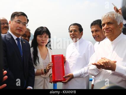 Sri Lanka. 08th Jan, 2018. Sri Lanka. 08th Jan, 2018. Sri Lanka's President and Prime Minister declared open Moragahakanda, - Stock Photo