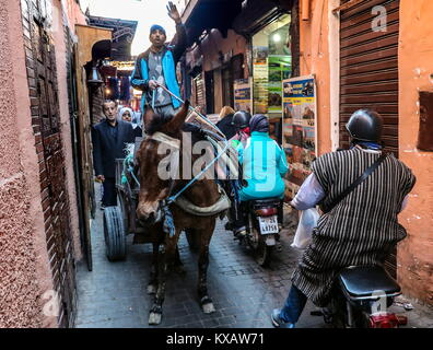 Marrakech, Morocco. 5th Jan, 2018. A man driving a donkey drawn cart in a narrow street in the ancient section of - Stock Photo
