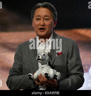 Las Vegas, USA., 8th January, 2018. 1-8-2018. Las Vegas NV. Sony President and CEO Kazuo Hirai talks during the - Stock Photo