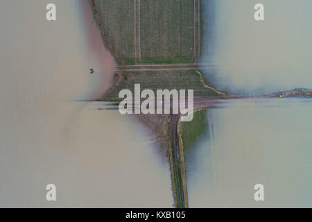 Cologne, Germany. 09th Jan, 2018. The Rhine river flooded fields and meadows in Cologne, Germany, 09 January 2018. - Stock Photo