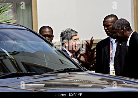 April 19, 2009 - Port Of Spain, Trinidad & Tobago - April 19, 2009. Oscar Arias, former president of Costa Rica, - Stock Photo