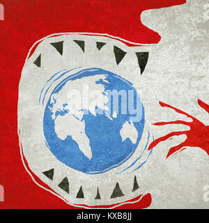 eating the world ecology concept digital illustration - Stock Photo